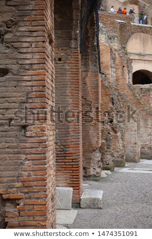 Ancient Colosseum Wall Bricks Close Up Inside Rome Italy Stock photo © billperry