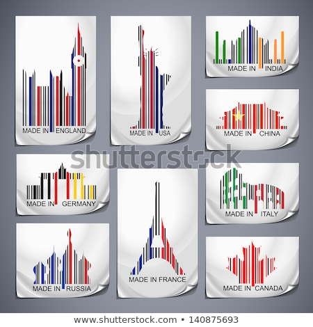 Set of colored barcode stickers made in the country Stock photo © tilo