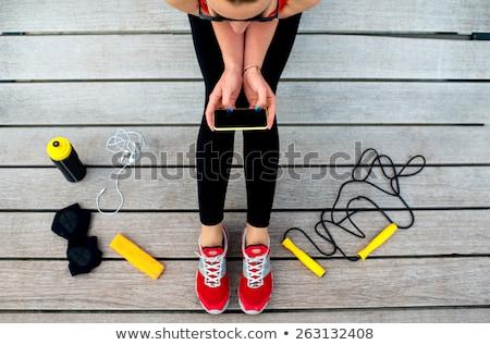 女性 リラックス サンベッド スマートフォン 美しい 小さな ストックフォト © Witthaya