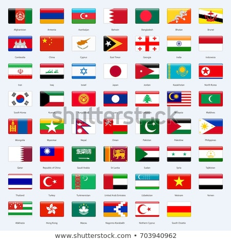 Vector flag set of all Asian countries. stock photo © Bytedust