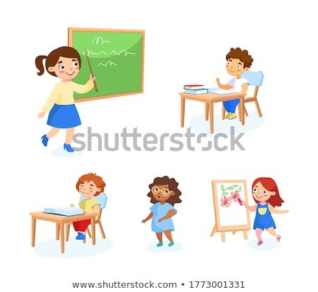 школьник · учебник · школы · столе · мальчика - Сток-фото © icefront