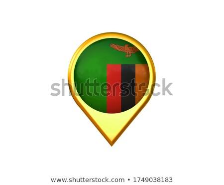 Замбия флаг икона изолированный белый интернет Сток-фото © zeffss