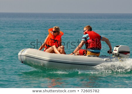 Inflatable boat on seacoast Stock photo © Nobilior
