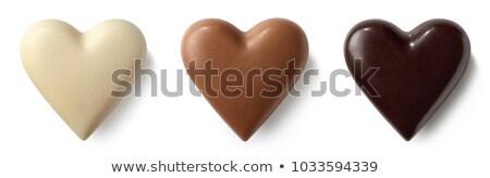 Csokoládé szív izolált fehér háttér kövér Stock fotó © natika