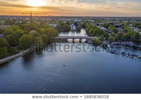 表示 ハンブルク 夜明け 空 水 市 ストックフォト © elxeneize