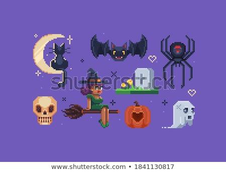 Szczęśliwy halloween witch starej książki księżyc strony Zdjęcia stock © carodi