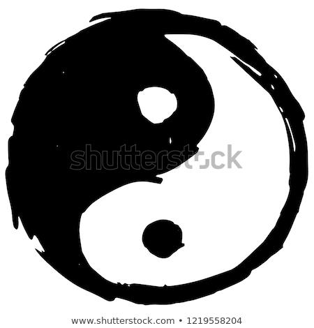 Nero doodle pattern senza soluzione di continuità feng shui Foto d'archivio © heliburcka