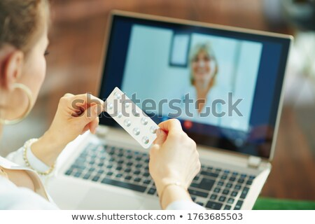 asthma on the display of medical tablet stock photo © tashatuvango