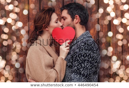 Romântico casal silhueta ilustração sessão banco Foto stock © rudall30