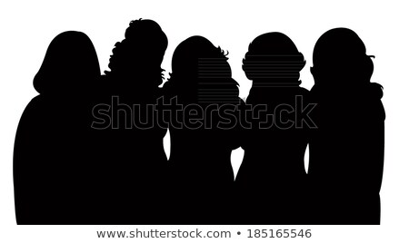 silhouette of 5 ladies stock photo © vg