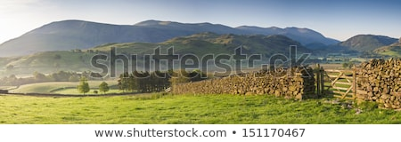 Stone Wall at Blue Lake in the mountains Stock photo © ankarb