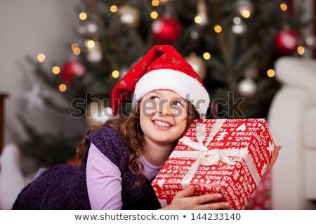 mooie · meisje · schudden · geschenk · witte · vrouw - stockfoto © PetrMalyshev