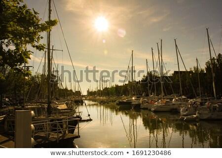 pier with old boats in Harlingen Stock photo © meinzahn
