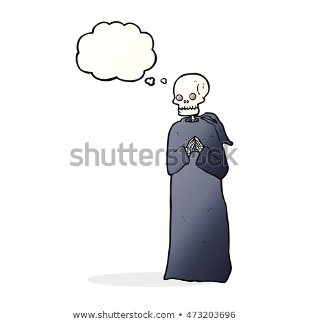 cartoon skeleton in black robe with thought bubble Stock photo © lineartestpilot