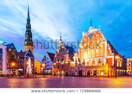 Riga ufuk çizgisi ışık kilise kış Stok fotoğraf © 5xinc