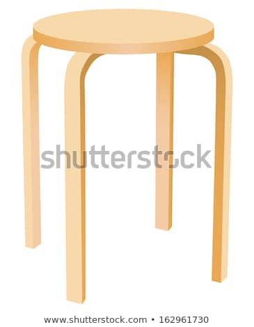 lassic round wooden kitchen stool Stock photo © ozaiachin