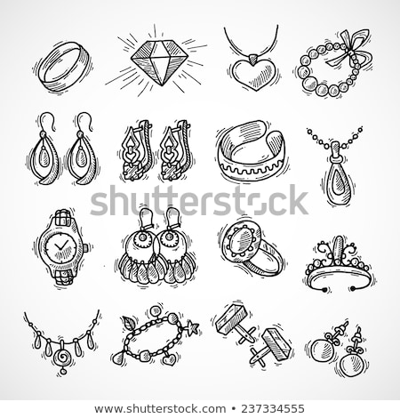Stock photo: Hand drawn collection of decorative wedding design elements with gold rings