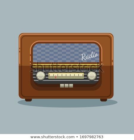 Bois radio vintage vieux isolé blanche Photo stock © smuki