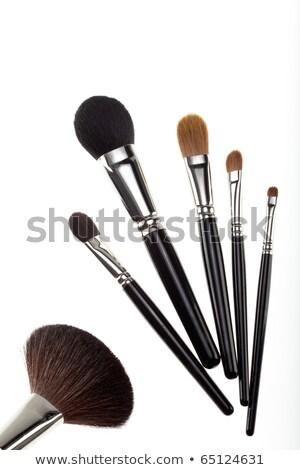 set of 5 eyeshadows and brushes isolated on white background Stock photo © tetkoren