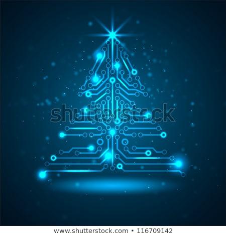 vektor · karácsonyfa · digitális · elektronikus · áramkör · kék - stock fotó © orson