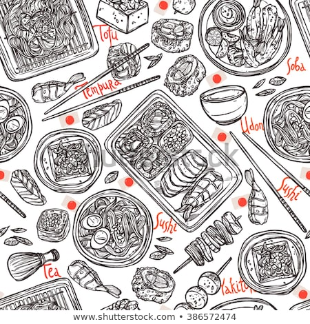 Japanese food - sushi doodle pattern Stock photo © netkov1