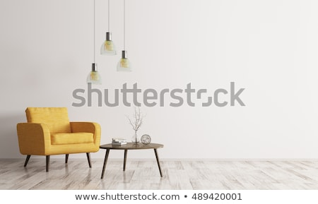 3D wooden table with modern lounge in background Stock photo © kjpargeter