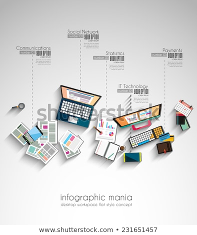 Ideal Workspace for teamwork and brainsotrming with Flat style Stock photo © DavidArts