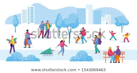 Man playing in snowballs. Stock photo © RAStudio