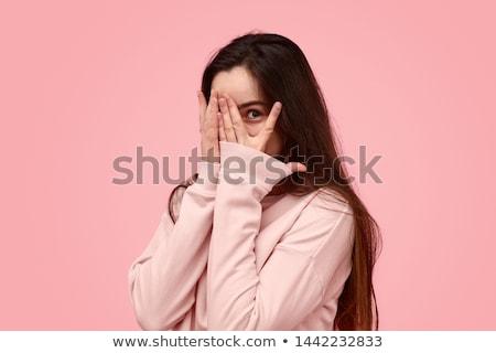 Félénk lány közelkép portré csukott szemmel izolált Stock fotó © sapegina