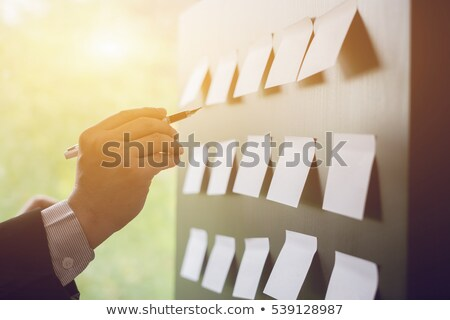 Stock photo: Businessman connecting the dots in business project management