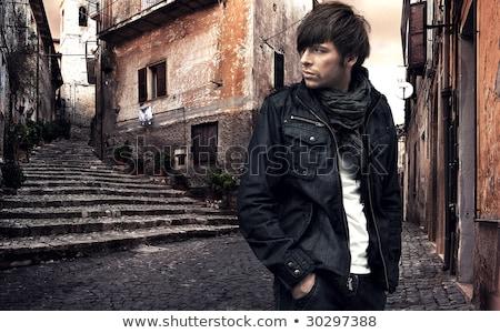 divat · stílus · fotó · férfi · haj · háttér - stock fotó © konradbak