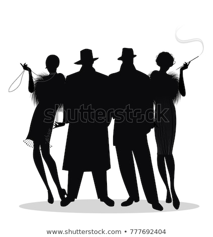 gangster · silhouette · deux · filles · fusil - photo stock © coolgraphic