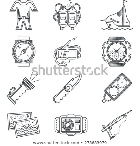 Black and white icon of snorkeling equipment Stock photo © adrian_n