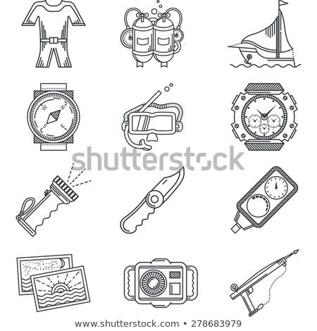Preto e branco ícone equipamento máscara visibilidade Foto stock © adrian_n