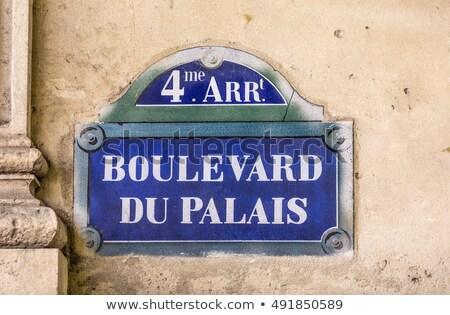 Eski sokak işareti Paris şehir mimari bağbozumu Stok fotoğraf © meinzahn