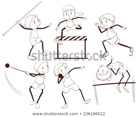 a plain outline of kids engaging in different activities stock photo © bluering