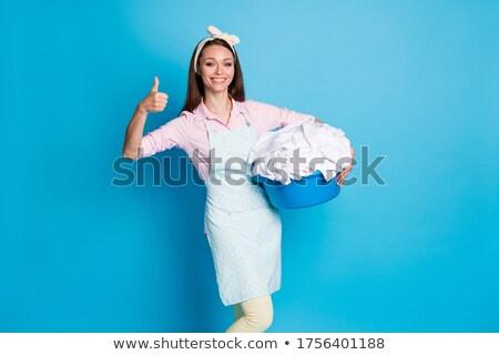 少女 · 洗濯 · 実例 · サービス · 服 · バスケット - ストックフォト © adrenalina