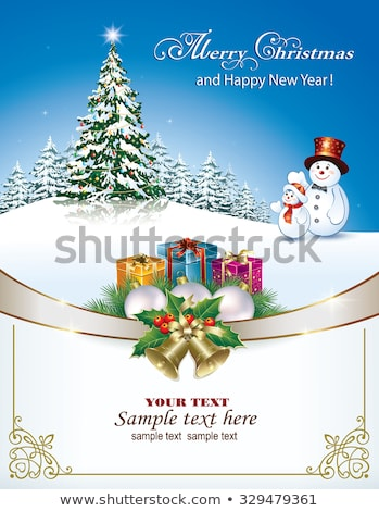 Happy new 2017 year card with silver bell, vector illustration Stock photo © carodi