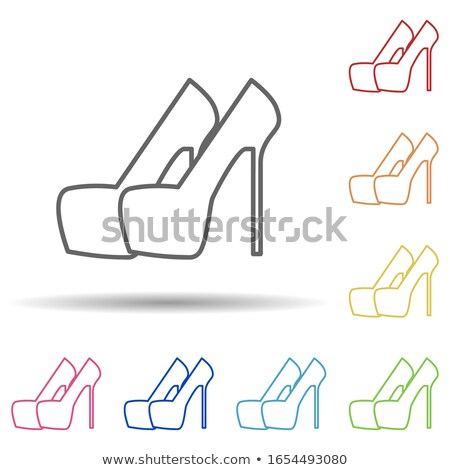 Female Shoe icon. woman footwear sign. boot symbol. Red fashion  Stock photo © popaukropa