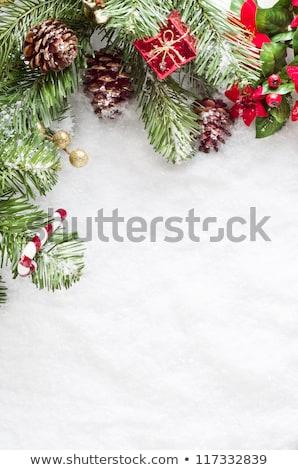 christmas themed gifts boxes left border stock photo © ozgur
