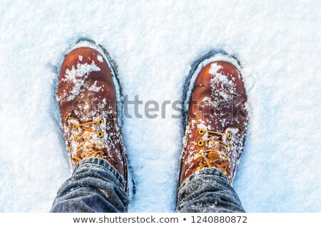 Male feet in leather shoes standing in snow from above Stock photo © stevanovicigor