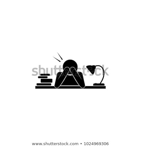 Stress at work - line design icons set Stock photo © Decorwithme