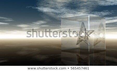 pentagram in glass cube - 3d rendering Stock photo © drizzd