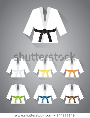 Kimono vechtsporten witte gordel icon cartoon Stockfoto © ylivdesign