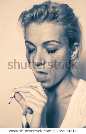 Lány sovány drog szenvedélybeteg egyedül lift Stock fotó © ajfilgud