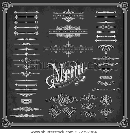 large collection of decorative calligraphic ornaments in vintage style on a chalkboard background stock photo © blue-pen
