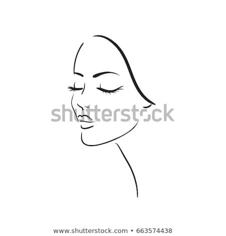 Belle femme visage isolé blanche vecteur femme Photo stock © NikoDzhi