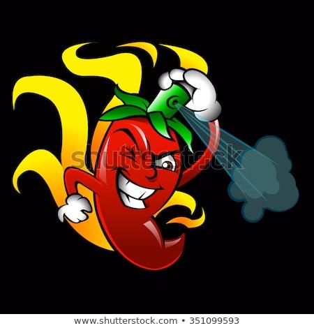 cartoon red chilli pepper mascot stock photo © krisdog