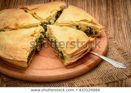 Caseiro grego espinafre torta feta fatias Foto stock © mpessaris