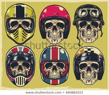 Cráneo casco emblema motocicleta gafas blanco Foto stock © frescomovie
